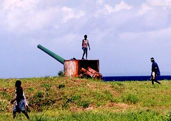 ブーゲンビル島ブイン海岸の高射砲跡